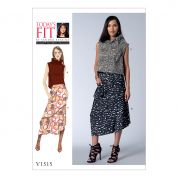 Vogue Ladies Sewing Pattern 1515 Ruffle Neck Top & Asymmetrical Skirts