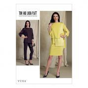 Vogue Ladies Sewing Pattern 1516 Batwing or Layered Overlay Tops, Pencil Skirt & Pants
