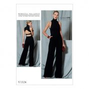 Vogue Ladies Sewing Pattern 1524 Open Back Halter Neck Belted Jumpsuit