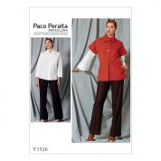 Vogue Ladies Sewing Pattern 1526 Asymmetrical Collar Jacket, Shirt, & Straight Leg Pants