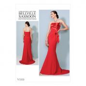 Vogue Ladies Sewing Pattern 1533 Strapless, Front Drape Dress with Train