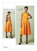 Vogue Ladies Sewing Pattern 1546 Lined Pleated Halter Dress