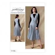 Vogue Ladies Sewing Pattern 1556 Sleeveless Surplice & Pleated Dress