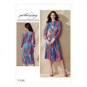 Vogue Ladies Easy Sewing Pattern 1558 Raglan Sleeve Pleated Dress