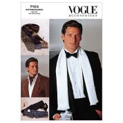 Vogue Mens Sewing Pattern 7104 Scarf, Tie, Bow Tie & Accessories