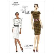 Vogue Ladies Easy Sewing Pattern 8630 Collar Dresses with Cup Sizes