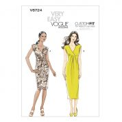Vogue Ladies Easy Sewing Pattern 8724 Pleat Dress with Cup Sizes