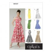 Vogue Ladies Easy Sewing Pattern 8727 Fitted Bodice Dresses