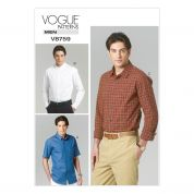 Vogue Men's Easy Sewing Pattern 8759 Long & Short Sleeve Shirts