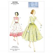 Vogue Ladies Easy Sewing Pattern 8789 Vintage Style Dress & Cummerbund