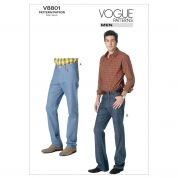 Vogue Mens Sewing Pattern 8801 Tapered or Boot Legged Jeans