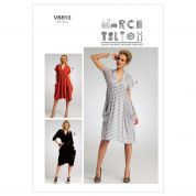Vogue Ladies Easy Sewing Pattern 8813 Drape Dress with Pockets
