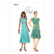 Vogue Ladies Easy Sewing Pattern 8871 Side Panel Dresses