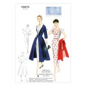Vogue Ladies Sewing Pattern 8875 Vintage Style Dress, Belt, Coat & Detachable Collar