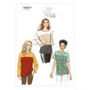 Vogue Ladies Easy Sewing Pattern 8877 Colour Block Tops