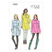 Vogue Ladies Sewing Pattern 8884 Lined Coat & Belt