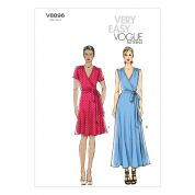 Vogue Ladies Easy Sewing Pattern 8896 Wrap Jersey Dresses