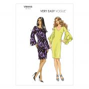 Vogue Ladies Easy Sewing Pattern 8945 Dresses with Sleeve Flounces
