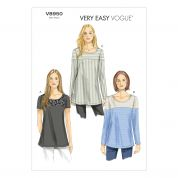 Vogue Ladies Easy Sewing Pattern 8950 Colour Block Tunic Tops