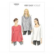 Vogue Ladies Easy Sewing Pattern 8952 Shaped Hemline Tunic Tops