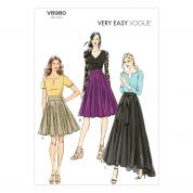 Vogue Ladies Easy Sewing Pattern 8980 Pleated Skirts