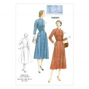Vogue Ladies Sewing Pattern 9051 Vintage Style Button Up Dress & Belt