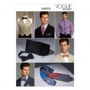 Vogue Mens Sewing Pattern 9073 Waistcoat, Cummerbund, Pocket Square & Ties