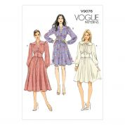 Vogue Ladies Easy Sewing Pattern 9076 Button Up Dresses with Collar