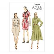 Vogue Ladies Easy Sewing Pattern 9077 Button Up Dresses