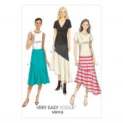 Vogue Ladies Easy Sewing Pattern 9113 Skirts with Flounce & Shaped Hemline