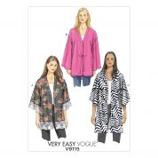 Vogue Ladies Easy Sewing Pattern 9115 Very Loose Fit Unlined Kimono Jacket