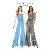 Vogue Ladies Easy Sewing Pattern 9116 Wide Legged Jumpsuits in 2 Styles