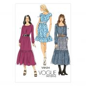 Vogue Ladies Easy Sewing Pattern 9124 Pullover Tiered Dresses