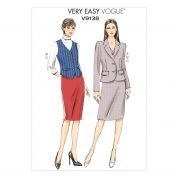 Vogue Ladies Easy Sewing Pattern 9138 Jacket, Waistcoat & Skirt Suit