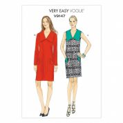 Vogue Ladies Easy Sewing Pattern 9147 Shift Dresses with Wide Collar