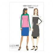 Vogue Ladies Easy Sewing Pattern 9166 Contrast Yoke Tunic, Dress & Skirt