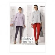 Vogue Ladies Sewing Pattern 9174 Double Collar Shirts & Seam Detail Pants