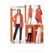Vogue Ladies Easy Sewing Pattern 9176 Notch Collar Back Pleat Jacket, Top, Dress & Pants