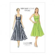Vogue Ladies Easy Sewing Pattern 9182 Button Down, Flared Skirt Dresses