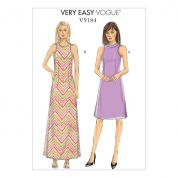 Vogue Ladies Petite Sizes Easy Sewing Pattern 9184 Side Slit, A Line Dresses