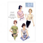 Vogue Ladies Easy Sewing Pattern 9187 Jewel & Scoop Neck, Princess Seam Tops