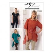 Vogue Ladies Easy Sewing Pattern 9188 Handkerchief Hem Tops with Center Pocket