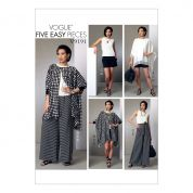 Vogue Ladies Easy Sewing Pattern 9191 Ponchos, Top, Shorts & Wide Leg Wrap Pants