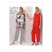 Vogue Ladies Easy Sewing Pattern 9193 Sleeveless & Dolman Sleeve Tunics & Pants with Yoke