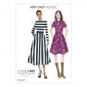 Vogue Ladies Easy Sewing Pattern 9197 Jewel Neck, Gathered Skirt Dresses with Cup Sizes