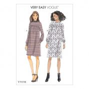 Vogue Ladies Easy Sewing Pattern 9198 Gathered Dresses with Front Yoke