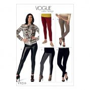 Vogue Ladies Easy Sewing Pattern 9210 Close Fitting Seamed Skinny Pants