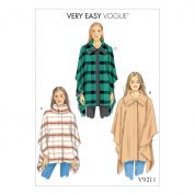 Vogue Ladies Easy Sewing Pattern 9211 Collared, Snap Front Capes
