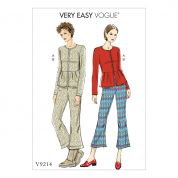 Vogue Ladies Easy Sewing Pattern 9214 Collarless Peplum Jacket & Pleated Knee Pants