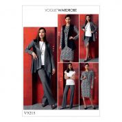 Vogue Ladies Easy Sewing Pattern 9215 Jacket, Waistcoat, Top, Dress, Skirt & Pants